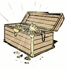 Treasure chest full of glittering treasure.