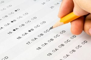 Student taking exam.