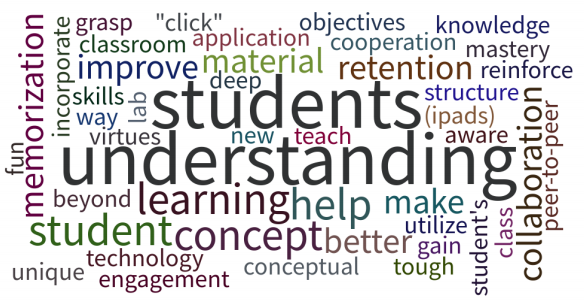 Participants in a HAPS worskhop (May 2017) described their goals for active learning.