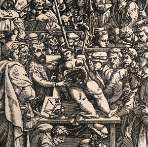 Vesalius' dissection of a female (woodcut image from 1555)