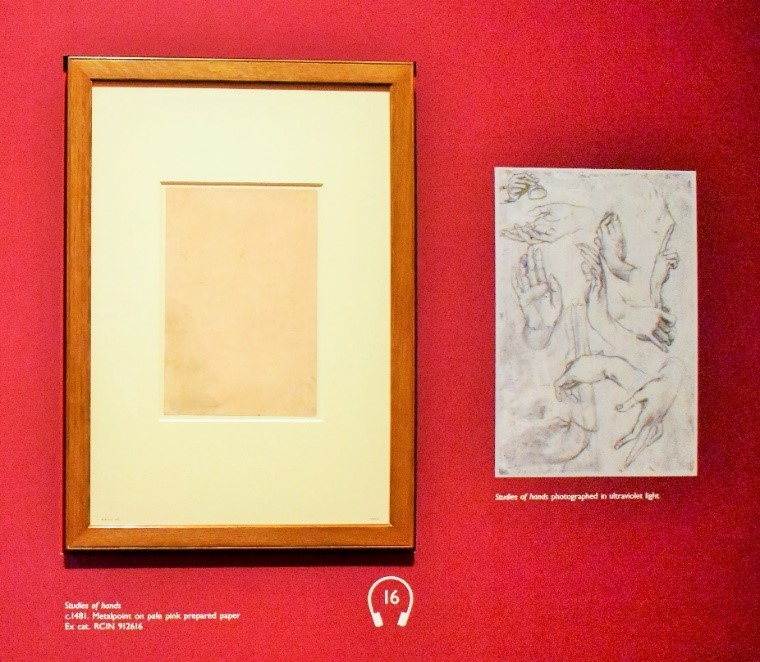 Adoration of Magi - Picture framed on left apparently invisible in normal light; on right - Sketches revealed with Fluorescent technology.